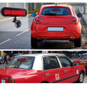 Multi purpose 12 V Red Taxi Car Glass Rear Window Message Display Board Led Sign