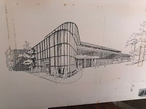 Mid Century Modern Architectural Rendering Signed Concept Art Blueprint