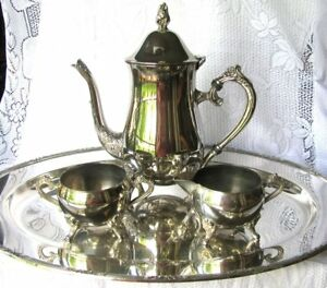Vintage Silverplate Tea Service 4 Piece Tea Set Inc Reed And Barton 18 Tray