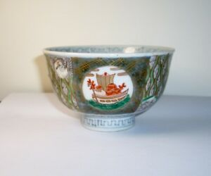Chinese Footed Tea Bowl Ships Birds Peach Antique