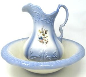 Vintage Ironstone Bowl And Pitcher Set Blue Floral England 1980 S Reproduction