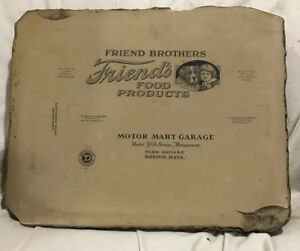 Vintage Lithograph Stone Printing Block food Products Motor Mart Two sided