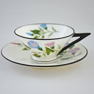 Antique 19th Century Cup Saucer Royal Worcester Morning Glory Flowers English