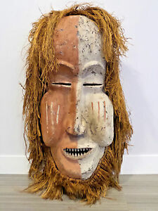 43 Tall Bamum Cameroon Mask African Handcarved Wood Raffia Africa Very Large
