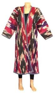Traditional Uzbek Hand Loomed Pure Natural Silk Ikat Warm Coat Robe Chapa A11199
