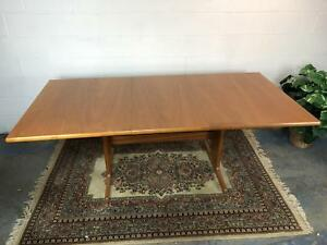 Danish Modern Mid Century Teak Dining Table W Built In Leaf