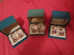6 Vintage Reed Barton Sterling Silver Napkin Rings Monogram B Exc Cond In Box