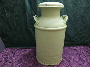 Antique Metal Milk Can Cream Can W Lid In Nice Condition Lime Green Color