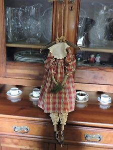 Handmade Primitive Folk Art Angel Doll Christmas Tree Dress Pin Head Style