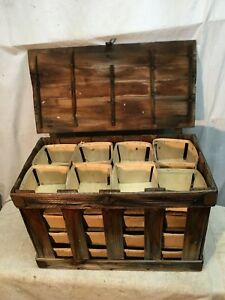 Vintage Rustic Farm Wood Wooden Berry Boxes Baskets 32 Pint Picking Crate