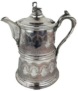 Antique 1854 Reed Barton Silver Plate Etched Silverplate Ice Water Pitcher 12
