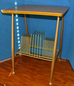 Vintage Mid Century Lu Van Danish Record Stand Table Cabinet Bent Wire Dividers