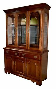 Vintage Thomasville Two Piece Lighted Cherry China Cabinet