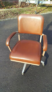 Vintage Globe Cosco Industrial Swivel Office Chair Brown Leather With Arms