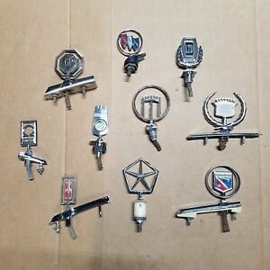 Hood Ornament Collection Of 10 Ford Olds Cadillac Buick Chevy Mopar Etc