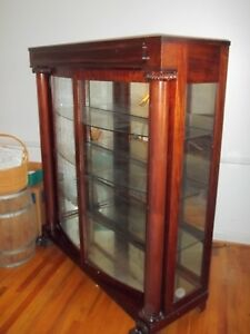 Vintage 1900 S Red Mahogany Curved Glass Large China Cabinet