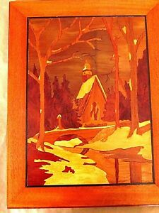 Reduced Rare Marquetry Wood Inlay Art Wall Hanging Chapel In The Woods