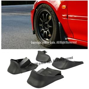 For 96 00 Honda Civic Ek Jdm Style Front Rear Splash Guard Black Mud Flap 4pcs