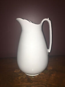Antique 1800s White Royal Ironstone China Charles Meakin England Pitcher 12