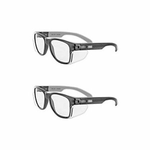 Classic Safety Glasses Side Shields Cloth Case Uv Protection Clear Lens 2 Pair