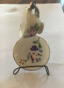 Vintage Mini Tea Cup And Saucer With Holder Miniature Decor Collectible