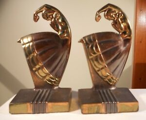 Antique Tango Dancer Bookends Attributed To Dodge C 1935 Deco Nouveau