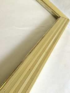 Rare Large Vintage Enameled Wood Picture Frame 31 1 4 X 25 Ivory Colored