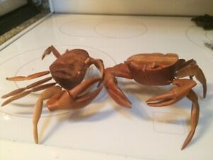 Pair Of Hand Made Wooden Crabs From The Bahamas