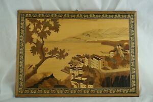 Italian Vintage Marquetry Seaside Ocean Villa Wood Hanging Picture 14 X 10