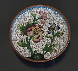 Antique Chinese Cloisonne Small Dish Plate With Flower