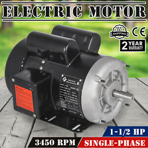 Electric Motor 1 1 2 Hp Single phase 3450rpm Tefc 5 8 Shaft Continuous 56c