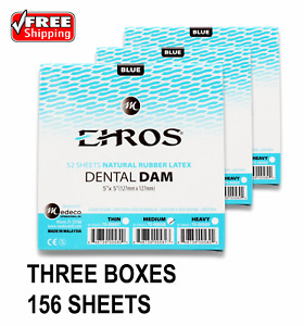 3 Boxes Dental Endodontic Rubber Dam Latex Medium Gauge 5 x5 Blue 52 box Eros