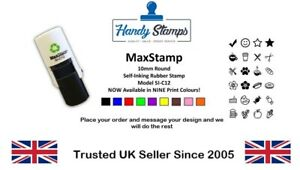 10mm Round Custom Rubber Stamp Self Inking Personalised With Your Logo Text