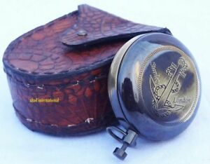 Nautical Brass Antique Style Push Button Compass W Leather Case Vintage Gift