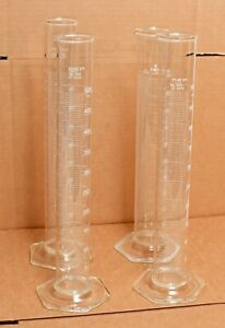 Lot Of 4 500ml Glass Graduated Cylinders Pyrex 3022 Kimax 20026 20deg C Hex Base