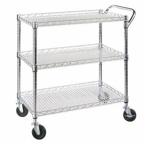 Utility Cart Small Stainless Steel Kitchen Island Storage Dining Rolling Wheels