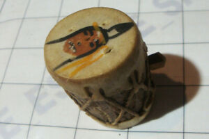 Primitive Toy Small Tree Bark Painted Handcrafted Wood Drum Powder Keg Container