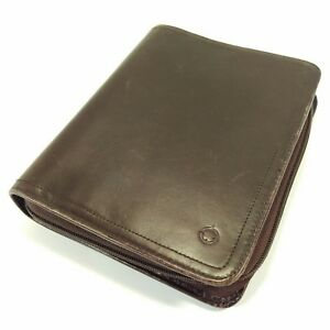 Franklin Covey Compact Brown Leather Unstructured Zipper Binder Planner