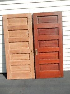 Pr Wooden Cherry 5 Panel Pocket Doors 83 Tall X 36 Wide