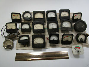 Vintage Voltage Amp Meters Gauges Dials Steampunk Industrial Salvage Lot Of 19