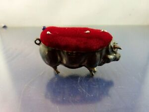 Antique Sterling Pig Pin Cushion By Lucas Co 1910 Birmingham