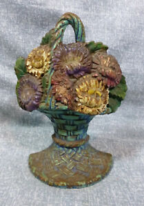 Antique Waverly Studio Flower Basket Cast Iron Book End 2