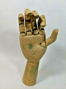 Jointed Carved Wood Articulated Right Hand Jewelry Store Display Mannequin