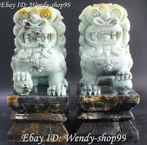 12 Collect China Jade Handwork Carving Foo Fu Dog Lion Lions Animal Statue Pair