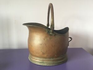 Large Vintage Brass Coal Scuttle Bucket Fire Tools Planter Plant Pot Tray