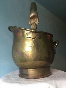 Vintage Brass Coal Scuttle Bucket Fire Tools Planter Trough Plant Pot Tray