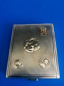 Russian Sterling Silver 84 Cigarette Case Wit Gold And Silver Application