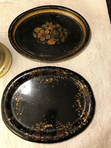 Antique 2 Hand Painted Small Tin Tole Serving Tray Toleware Floral Shell