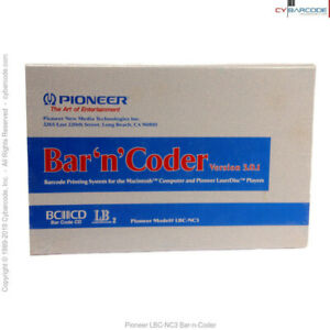 Pioneer Lbc nc3 Bar n coder Barcode Software New old Stock