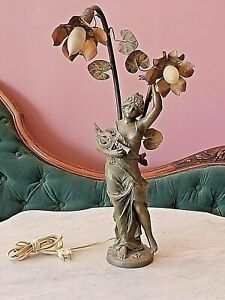 Art Nouveau Sgnd Moreau Bronze Newel Post Lamp Lady Holding Musical Instruments